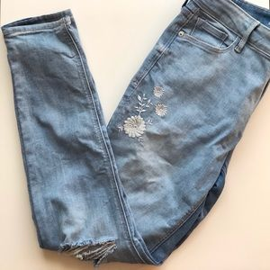 Old Navy Rockstar embroidered distressed jeans